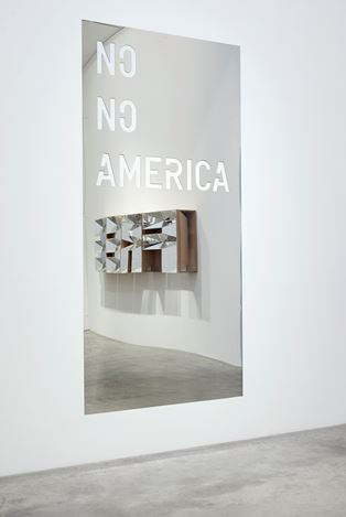 Group Exhibition, Protest, 2016, Exhibition views at Victoria Miro, Wharf Road, London. Image 1:Elmgreen & Dragset, Prison Breaking/Powerless Structures, Fig. 333 (detail), 2002/2016 & Rirkrit Tiravanija, untitled 2013 (no no america), 2013. Courtesy the Artists and Victoria Miro, London © The Artists. Image 2: Doug Aitken,Free, 2016 & Elmgreen & Dragset, Prison Breaking/Powerless Structures, Fig. 333 (detail), 2002. Courtesy the Artists and Victoria Miro, London © The Artists. Image 3: Chris Ofili,Union Black, 2003. Courtesy the Artist and Victoria Miro, London © Chris Ofili. Image 4: Doug Aitken,Free, 2016 & Elmgreen & Dragset, Prison Breaking / Powerless Structures, Fig. 333 (detail), 2002/2016.Courtesy the Artists and Victoria Miro, London © The Artists. Image 5:Doug Aitken,Free, 2016 &Rirkrit Tiravanija,untitled 2013 (no no america),2013.Courtesy the Artists and Victoria Miro, London © The Artists.