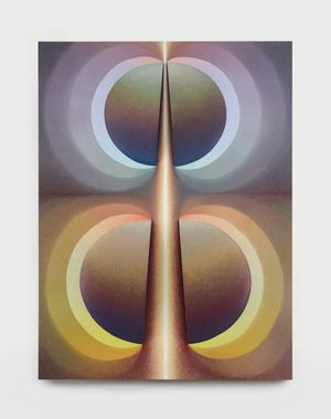 Split orbs in yellow and purple haze by Loie Hollowell contemporary artwork