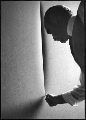 Lucio Fontana, Waiting, Milan (6) by Ugo Mulas contemporary artwork