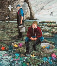 Fetching stars (low tide, Etretat) by Hernan Bas contemporary artwork painting