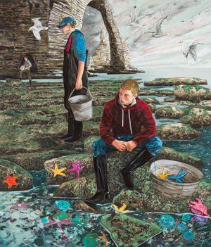 Fetching stars (low tide, Etretat) by Hernan Bas contemporary artwork