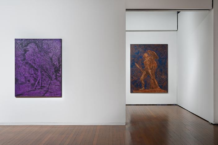 installation view, Daniel Boyd:AND THE HORIZON SWALLOWED THE TORTOISE, Roslyn Oxley9 Gallery, Sydney (15 July –15 August 2020). photo: Luis Power