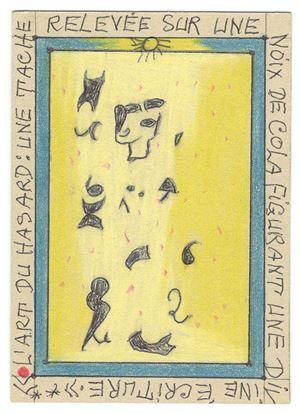 L'art du hasard: une tache relevée sur une noix de cola figurant une divine écriture by Frédéric Bruly Bouabré contemporary artwork