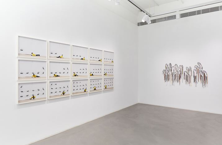 Exhibition view: Robin Rhode & Nari Ward, Power Wall, Lehmann Maupin, Hong Kong (3 April–18 June 2020). Courtesy the artists and Lehmann Maupin, New York, Hong Kong, and Seoul. Photo: Owen Wong.