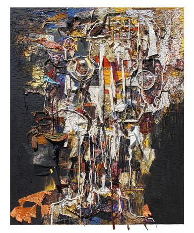 Gatot Pujiarto,               Makhluk Asing/Strange Creature (2019). Canvas, acrylic, textile, thread.               260 x 210 cm (102 3/8 x 82 5/8 in.) Courtesy of the artist and Pearl Lam Galleries.