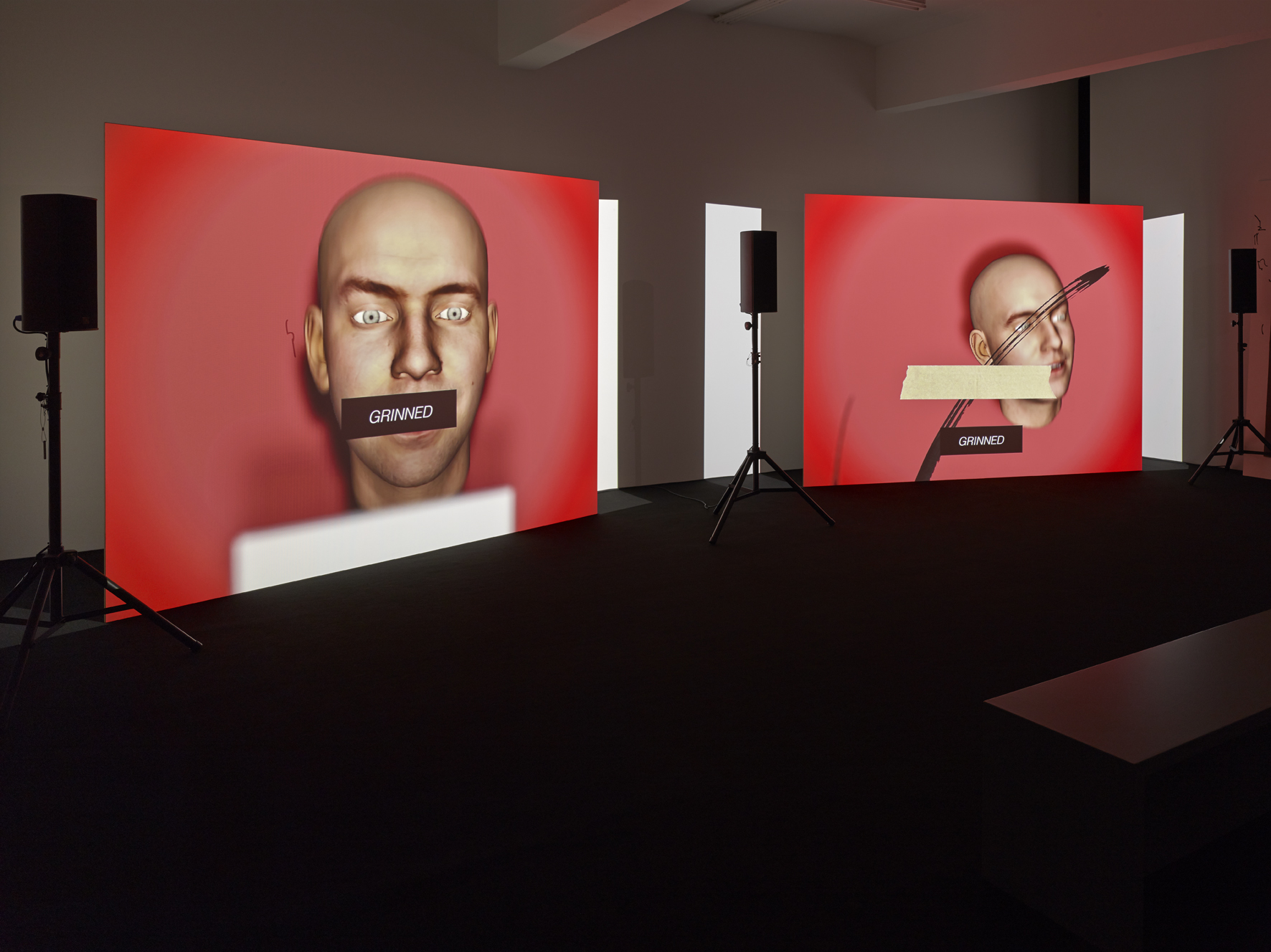 Image: Ed Atkins, Us Dead Talk Love, 2012. Two-channel video installation, 37'24'', colour, sound. Courtesy the Artist and Cabinet London.
