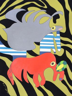 The Jumping and Flying Animal in the Dream by Go Yayanagi contemporary artwork