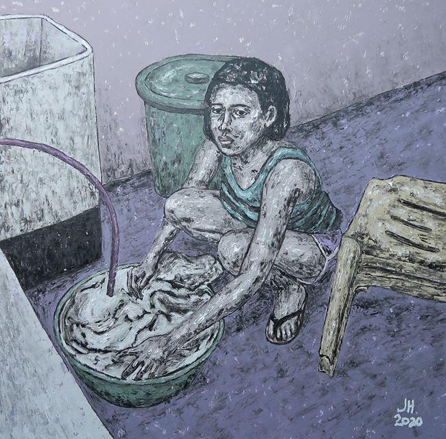 Laundry Dizzy Days by Johanna Helmuth contemporary artwork