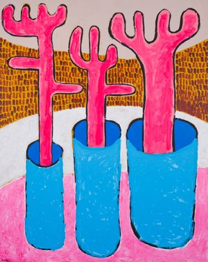3 Pink Forks in Vase by Mohamed Ahmed Ibrahim contemporary artwork painting