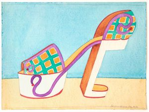 Plaid Platform by Barbara Nessim contemporary artwork