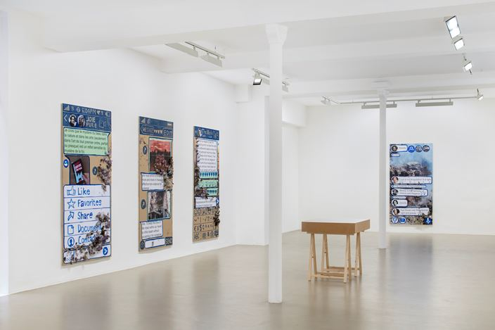 Exhibition view: Thomas Hirschhorn, Eternal Ruins, Galerie Chantal Crousel, Paris (7 March—23 May 2020). Courtesy the artist and Galerie Chantal Crousel, Paris. Photo: Martin Argyrolglo.