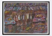 Women and Cars by David Koloane contemporary artwork painting, works on paper, mixed media