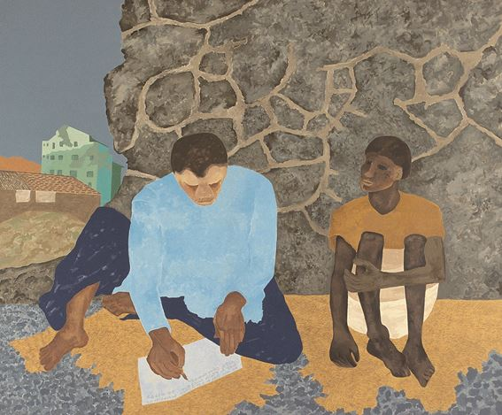 Gieve Patel, The Letter Home (2002). Acrylic on canvas. 149.8 x 182.8 cm / 59 x 72 in. CourtesyGalerie Mirchandani + Steinruecke.