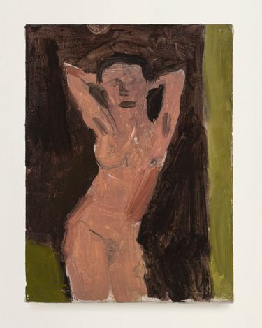 Woman with Arms Up, 2021. Oil on linen, 8 x 6 in.  Courtesy Thomas Erben Gallery.