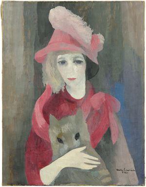 Femme au chien (portrait) (Womanwith a Dog (portrait)) by Marie Laurencin contemporary artwork painting, works on paper