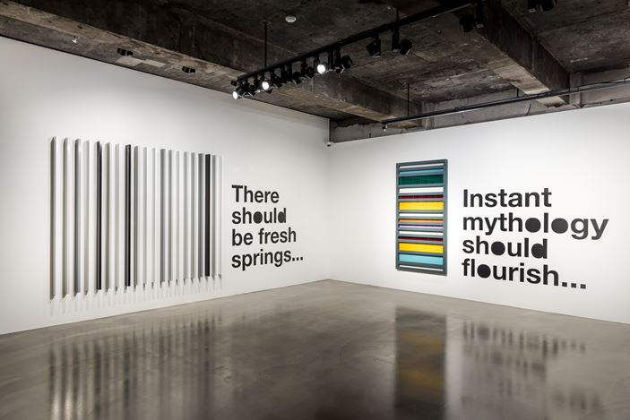 Exhibition view: Liam Gillick, There Should Be Fresh Springs..., Gallery Baton, Seoul (19 October–23 November 2018). Courtesy Gallery Baton, photo by Jeon Byung Cheol.