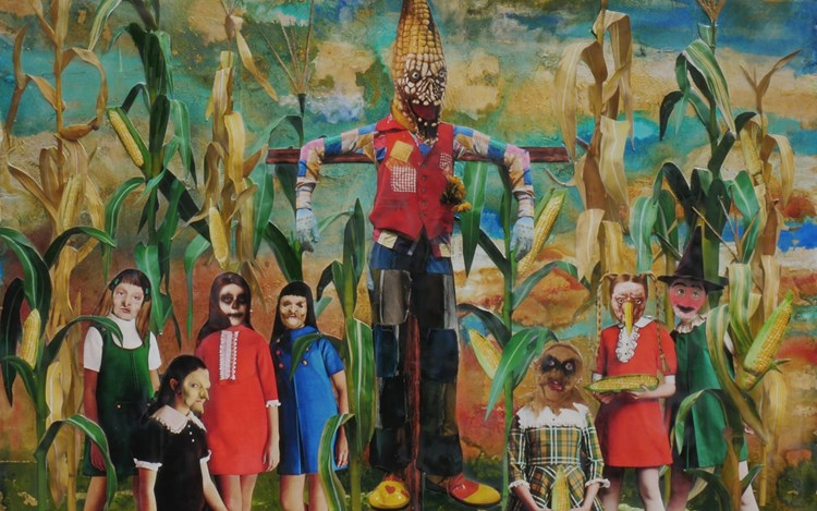 Marnie Weber, The Corn Ritual (2019) (detail). Acrylic paint, gold leaf, collaged archival elements, and encaustic wax on a framed wooden panel. 95.9 x 95.9 x 9.5 cm. Courtesy Simon Lee Gallery.