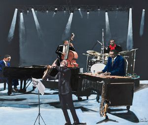 Modern jazz quartet with guest Sonny Rollins by Sam Nhlengethwa contemporary artwork