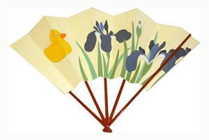 Iris and duck (Folding Fan) by Taro Yamamoto contemporary artwork
