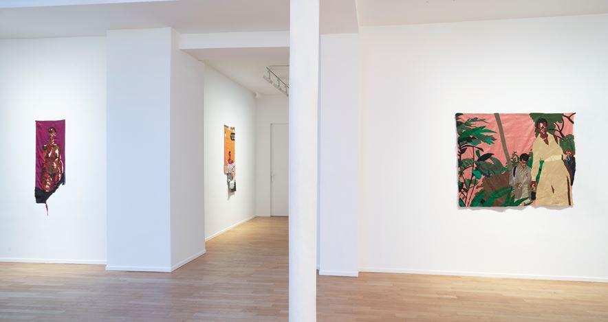 Exhibition view: Billie Zangewa, Soldier of Love, Templon, 30 rue Beaubourg, Paris (14 March–6 June 2020). Courtesy Templon.