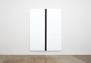Untitled (White, Black Band (Narrow), Beveled) by Mary Corse contemporary artwork