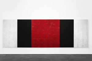 Untitled (White, Black, Red, Beveled) by Mary Corse contemporary artwork