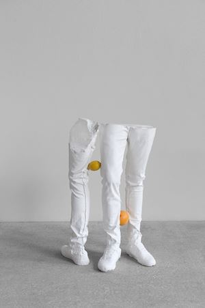 Untitled (with fruits) (One Minute Forever) by Erwin Wurm contemporary artwork
