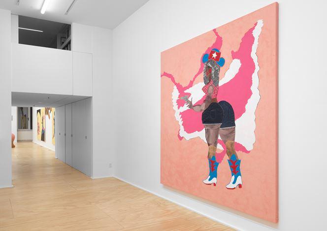 Exhibition view: Tschabalala Self, Cotton Mouth, Eva Presenhuber, New York (7 November 2020–23 January 2021). © Tschabalala Self. Courtesy the artist and Galerie Eva Presenhuber, Zurich / New York. Photo: Matt Grubb.