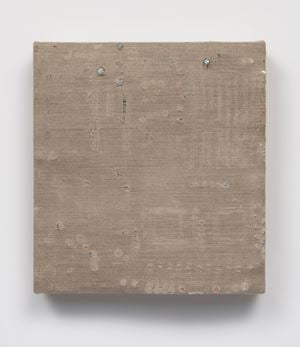 Distressed Canvas Circuit Board (with Component Rubbings and Punctures) #8 by Analia Saban contemporary artwork