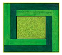 Untitled (Tree Painting-Double L, 3 Greens) by Douglas Melini contemporary artwork painting