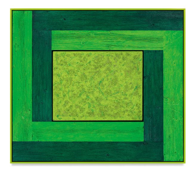 Untitled (Tree Painting-Double L, 3 Greens) by Douglas Melini contemporary artwork
