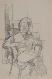 Bruno lisant by Alberto Giacometti contemporary artwork works on paper, drawing
