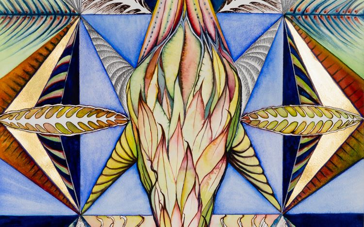 Faith Wilding, Spells (2020) (detail). Watercolour, gold leaf, ink, and coloured pencil on paper. 23 1/2 x 18 inches. Courtesy Anat Ebgi.