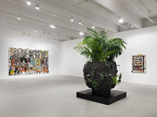 Exhibition view: Rashid Johnson, The Hikers, Hauser & Wirth, 22nd Street, New York (12 November–25 January 2020). © Rashid Johnson. Courtesy the artist and Hauser & Wirth. Photo: Dan Bradica.