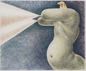 Green Sphinx with Projections by Louise Bonnet contemporary artwork works on paper, drawing