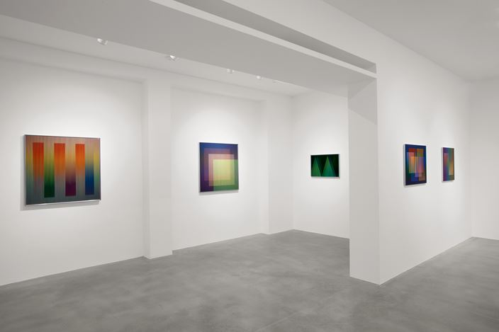 Exhibition view: Carlos Cruz-Diez, Colore come evento di spazi, Dep Art Gallery, Milan (9 October 2019–21 January 2019). Courtesy Dep Art Gallery.