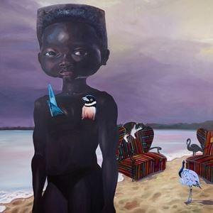 Untitled (beach girl) by Ndidi Emefiele contemporary artwork