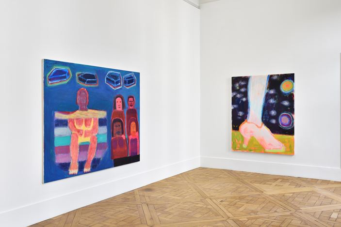 Exhibition view: Katherine Bradford, Artist, Cops and Circus People, Campoli Presti, Paris (14 October–14 December 2019). Courtesy Campoli Presti.