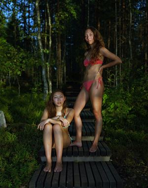 Sophie and Alice, Savolinna, Finland, August 3, 2013 by Rineke Dijkstra contemporary artwork