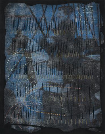 Abul Hisham,Philosopher's Death(2018). Soft pastel and water-based pigment on paper. 152.4 x 122 cm. Courtesy Galerie Mirchandani + Steinruecke, Mumbai.