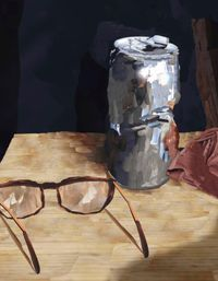 Cans and glasses by Alina Frieske contemporary artwork painting, photography