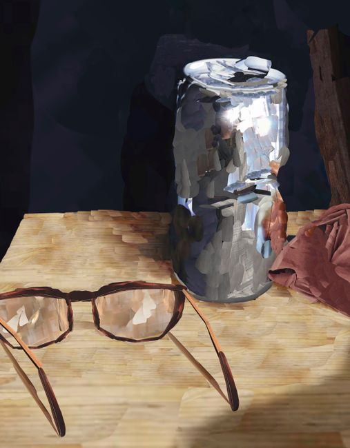 Cans and glasses by Alina Frieske contemporary artwork