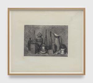 Grande natura morta con la lampada a destra (Large still life with the lamp on the right) by Giorgio Morandi contemporary artwork