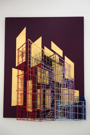 Ambiguous wall- Golden cage #0202 by Byung Joo Kim contemporary artwork