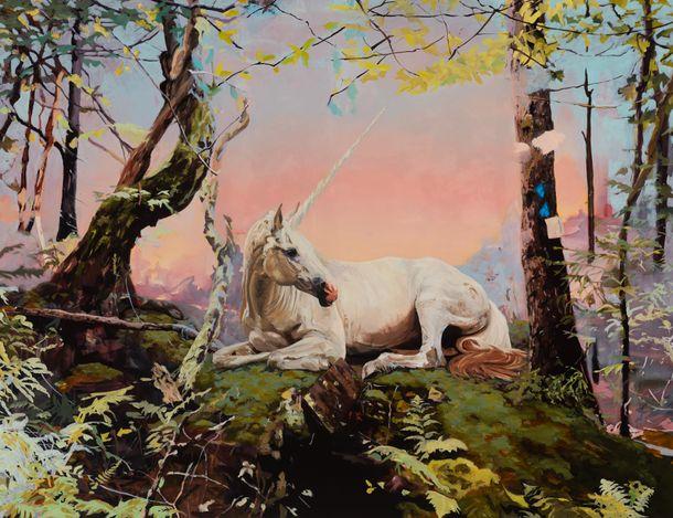 Melora Kuhn,Unicorn(2021). Oil on canvas. 152.5 x 198 cm. Courtesy Galerie EIGEN + ART Leipzig/Berlin. Photo: Chris Kendall.