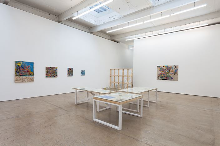 Exhibition view: Chris Johanson, Subject Matter, Unblivion, Peace Train Of Thought How I Figured Out How ToHave A Show In 2021, The Modern Institute, Airds Lane, Glasgow (1–28 February 2021). Courtesy the Artist and The Modern Institute/Toby Webster Ltd, Glasgow. Photo: Patrick Jameson.