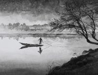 Boatman by Hans Op de Beeck contemporary artwork painting, works on paper