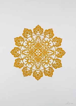 Flowers (Mustard Yellow) by Anila Quayyum Agha contemporary artwork