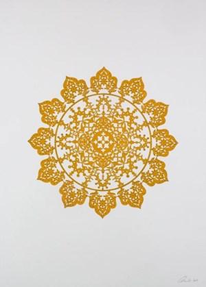 Flowers (Mustard Yellow) by Anila Quayyum Agha contemporary artwork