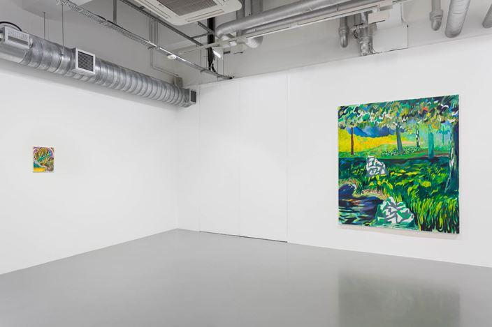 Exhibition view: Shara Hughes, Unmanageable,Pilar Corrias, London (21 February–28 March 2020). Courtesy Pilar Corrias. Photo: Mark Blower.